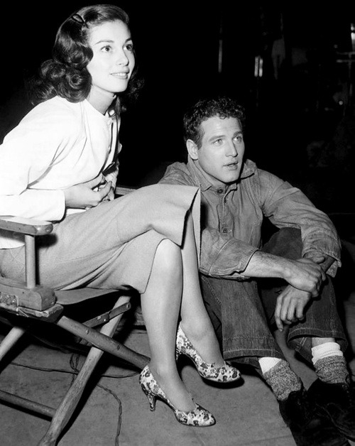Pier Angeli and Paul Newman on the set of Somebody Up There Likes Me, 1956.