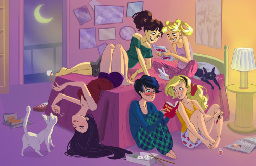 oshiokiyo:  moonlightmiracle:  twiggymcbones:  Sailor Moon slumber party! You bring the nail-polish. I'll bring the DVD of Romy and Michelle's Highschool Reunion.   This is the most adorable fanart ever. I really love Rei's position with Artemis and the sushi. Oh and Ami's face! So cute! Usagi and Mako- d'awww. I just love this!  Can you die from seeing perfection? Because I think I have. No… I know I did.   I died and went to the moon