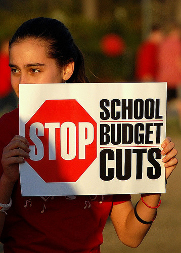 26 states cut their education budgets for this yearSeptember 5, 2012 States have made deep cuts to their education budgets in the years since the Great Recession, and as their budgets remained crunched by lower levels of tax revenues, more than half are spending less on education this school year than they did last year, a new analysis from the Center on Budget and Policy Priorities found. Overall, 26 states will spend less per pupil in fiscal year 2013 than they spent in 2012, while 35 are still spending less than they did before the recession. As the chart from CBPP shows, Alaska, Alabama, and Washington are leading the way in education cuts, reducing funding by at least $200 per student. Education spending isn't back to its pre-recession levels in nine additional states, including Florida, which is boosting per pupil funding by $273 this year. Over the previous four years, however, Florida cut per pupil spending by $569. Seventeen states, according to CBPP, have cut their education budgets by at least 10 percent over the last five years. These cuts actually helped make the economic downturn worse, as they forced states and localities to layoff teachers and other education-sector workers. Since 2009, more than 200,000 teaching jobs have vanished. But the cuts also have damaging effects on America's education system as a whole. Cutting education budgets forces school districts to scale back services and programs. The cuts, as CBPP notes, can undermine education reform efforts, and since they are often disproportionately targeted at low-income school districts, education cuts can also exacerbate the education gap thatalready exists between low- and high-income students. Source Fund education, not wars.
