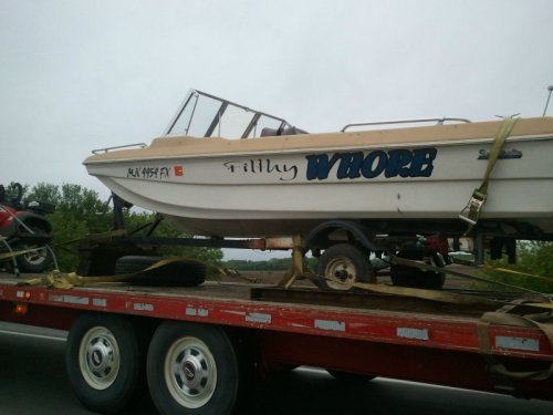 "Boat Named ""Filthy Whore"" Bye, honey, I'm going to spend some time in the filthy whore."