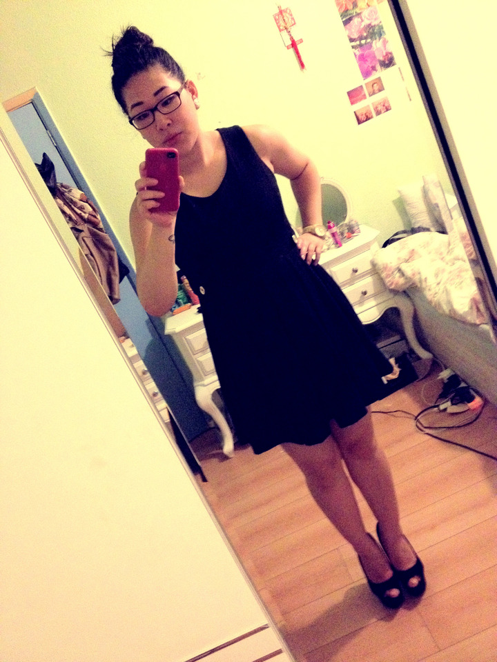 The dress I bought for £7 earlier. It's quite thick (for my standards) also I like the gold buttons in the side. Pretty good purchase. Please excuse my smudged/ lack of make up! :)
