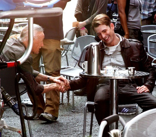 lady-hakunamatata:  natashabartons:  peggypotts:  Chris Evans and Stan Lee on the set of The Avengers  #this makes me really sad #because if you ignore the wiring and all the cameras and such #it looks like steve was just at that cafe #and he just happened to encounter one of his old friends from before #and at first he doesn't recognize him because the man is short and wrinkled and old #but then he looks into his eyes #and they're a little more worn and a little more sad #but he knows those eyes #and he remembers the laughter that used to play in those eyes #and when the man recognizes him #at first it's awkward and uncomfortable #because how do you tell what would be an old friend that you're just like you were when he last saw you #seventy years ago #but then he just gives you this small grin #and he's got that same laughter in his eyes #and he says 'long time no see huh rogers' #and then for just a couple of minutes they're laughing and talking as if nothing ever happened #as if seventy years hadn't happened #and in the back of his head steve knows that it's not the same and that it should be weird #but just for a few minutes#he lets himself forget #lets himself pretend #and just for a few minutes #the future isn't so bad  I promise I'll reblog this every time I see it on my dashboard. Because it's a beautiful post, and because I love it.