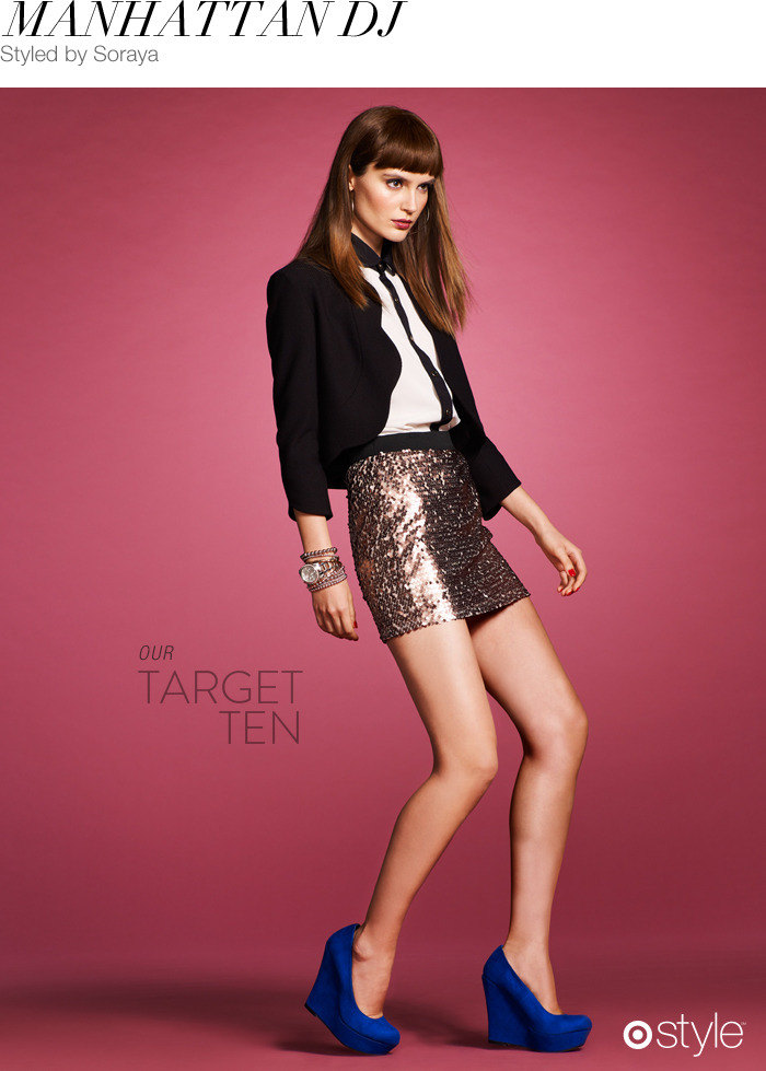 Manhattan DJ by Soraya own it now: sequins skirt. scallop blazer. tuxedo blouse. blue suede heels.