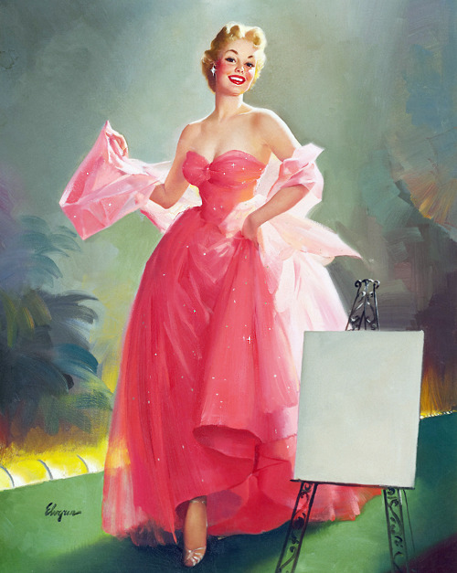 "vintagegal:  ""Miss Sylvania"" for Sylvania calendar by Gil Elvgren c. 1950's"