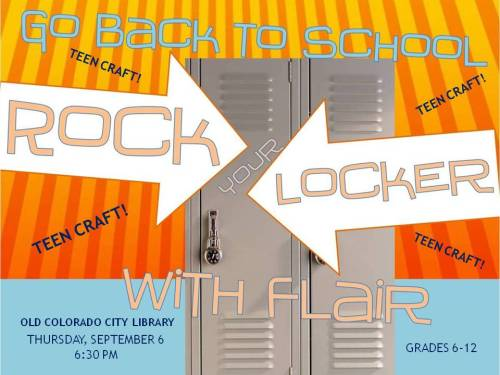 Rock Your Locker Thursday @ 6:30! Thanks @ Teen Librarian's Toolbox for great idea!