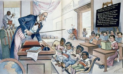 "collective-history:  Caricature showing Uncle Sam lecturing four children labelled Philippines, Hawaii, Porto Rico and Cuba in front of children holding books labelled with various U.S. states. The caption reads: ""School Begins. Uncle Sam (to his new class in Civilization): Now, children, you've got to learn these lessons whether you want to or not! But just take a look at the class ahead of you, and remember that, in a little while, you will feel as glad to be here as they are!"" LOC  I have little doubt Mitt Romney still thinks this way."