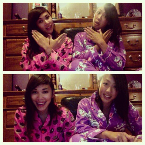 @kchloetse wenesday night jammy jams! #oneandahalfasian #pajamas #asians #pink #purple (Taken with Instagram)