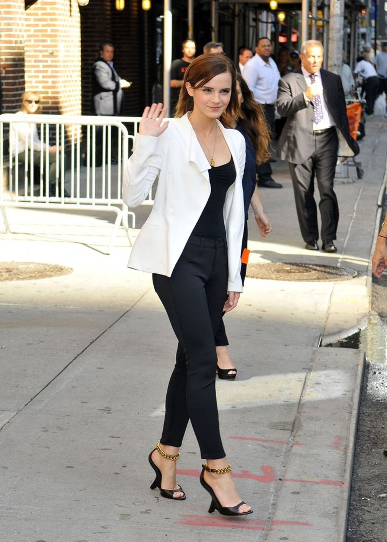 Emma Watson (wearing shoes by Tom Ford) at The Late Show with David Letterman, September 5th