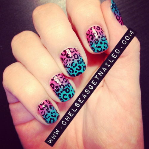 getnail-d:  I haven't done leopard print in a while, it is one of my favorites! What I Used: -Essie Guilty Pleasures -Butter London Slapper -Nubar Nail Art Pen in black -Makeup sponge for the gradient