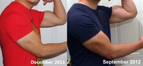 Here's an updated progress pic of me. The first pic was before I started bulking. I began bulking in February 2012 and the second pic is me now.