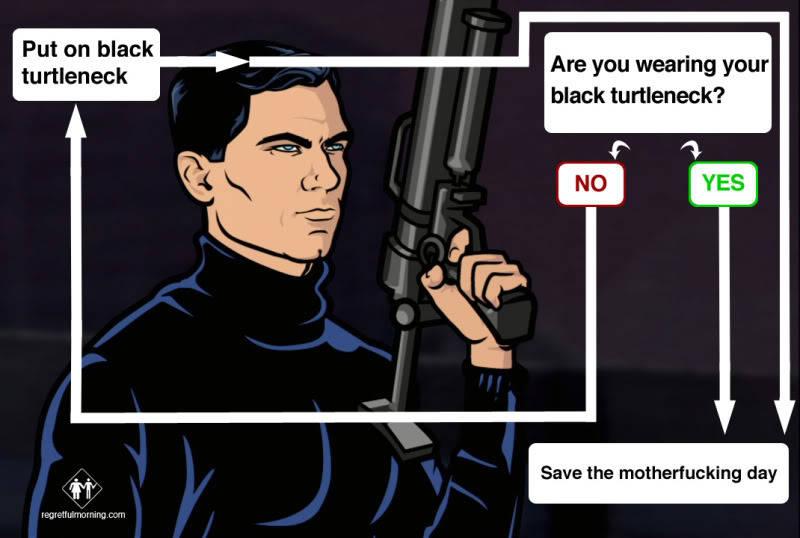 archer black turtle neck