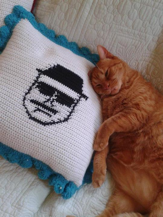 Eyz in the EMPIRE bizniz……  Crocheted Heisenberg pillow