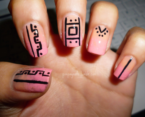 pimpmynails:  tribal + gradient Like us on facebook!
