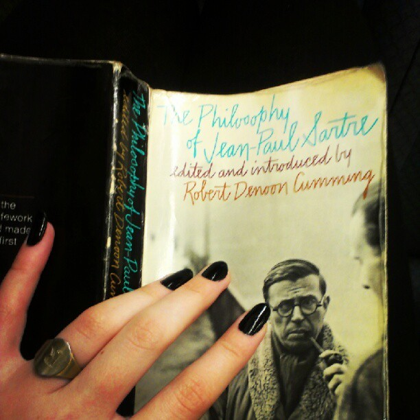 Some light #reading for the train ride home. #Satre #Existentialism  (Taken with Instagram)