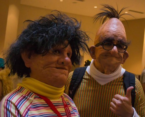 :: Horror has a new face :: Bert and Ernie cosplay style show up as shriveled old darlings wrapped in latex at the recent Dracon*Con.  Personally, I prefer the felt and glue Instagram versions of the 70's puppet hipsters. Back in the bath Bert! via geekologie and reddit