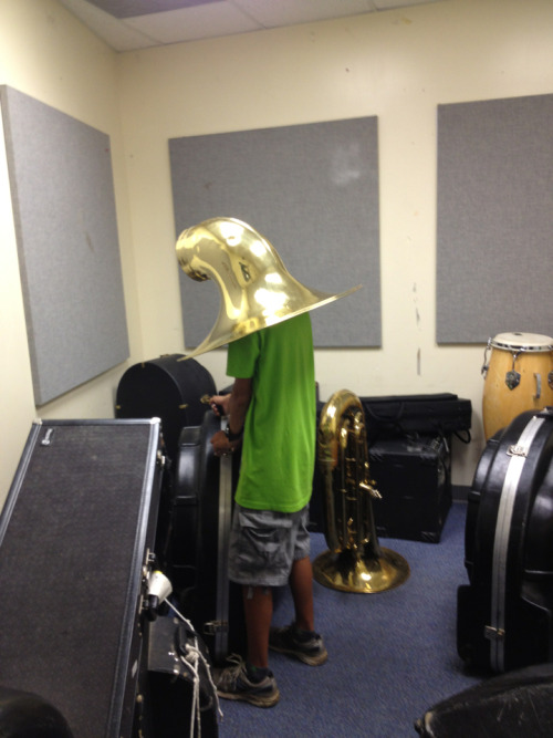 thief-of-sexy:  thief-of-sexy:  OK SO IM JUST ABOUT TO LEAVE THIS BAND ROOM AND I TURN TO SEE THIS FUCKING KID WITH A TUBA PIECE ON HIS HEA JUST LIKE CHILLIN ALL ALONE WTF DO THEY TEACH U IN SCHOOL LIKE ICNT FLDLLDLD  HAHA I STILL HAVENT TOLD THIS KID ABOUT THIS SHIT AND IT HAS 700+ NOTES BUT WHATEVS AND HE WONDERS WHY I CALL HIM TUBA BOY OMG