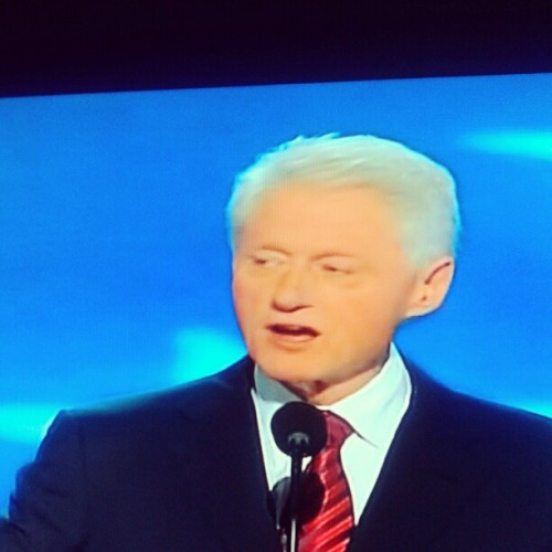 "America's 42nd President Bill ""Big Dog"" Clinton now speaking at the #dnc2012 podium. #bigdog #billclinton #ig #instagram (Taken with Instagram)"