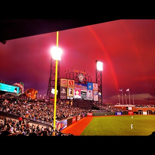 OMG! The sky is getting more Unicorn-Ish at AT&T Park!!! #sfgiants  (Taken with Instagram)