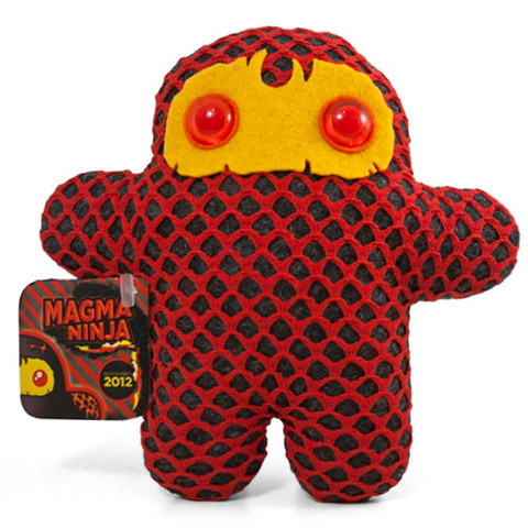 "Ninja of the Month: Magma Ninja This incendiary ninja is erupting with awesome. So goes his story: ""This former Baker Ninja is now equal parts magma and Dark Syrup, thanks to a tiny drip of Dark Syrup in a cookie recipe as part of a seemingly harmless prank! Goes to show you simply can't trust ANYTHING from the Dark Forest…"" I love the eyes on this one and the magma pattern reminds me of lava levels from early 3D games. The normal $30 price tag includes a sticker, button, and signed and numbered tag. Grab one straight from Shawnimals. Check out previous Ninjas of the Month here."
