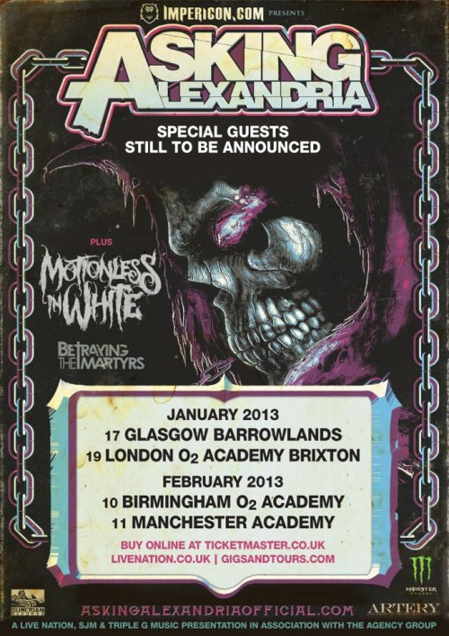 Tour Dates: Asking Alexandria / Motionless In White / Betraying The Martyrs