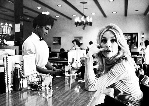 lovesharontate:  Sharon Tate at a diner, C.1960's