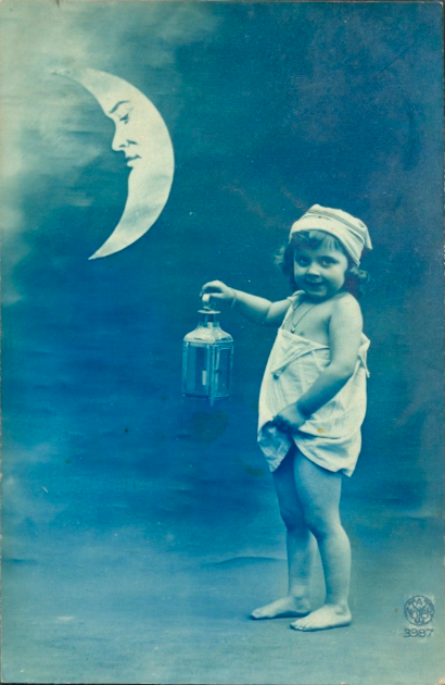 maudelynn:  Little Boy and the Moon 1920s postcard