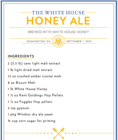 The White House Honey Ale Recipe Directions and Porter Ale Recipe in hyperlink