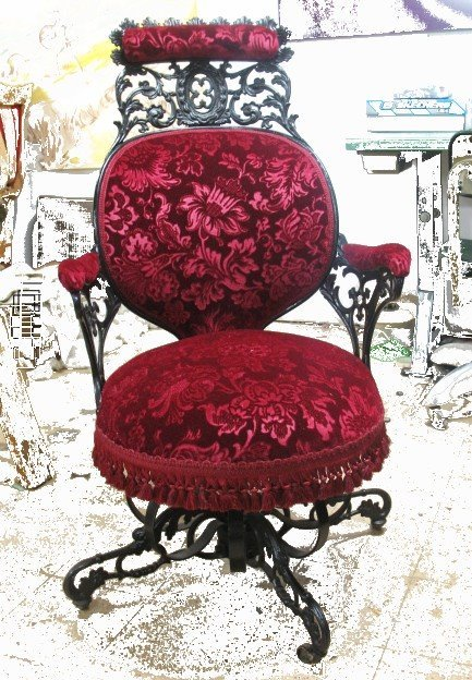 artofadornment:  Reupholstered Victorian Office Chair by TigerLilly Shop