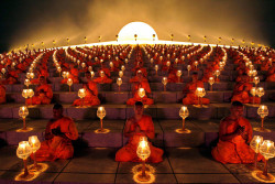 Buddhist Monks praying for the world Magha Puja 2012.