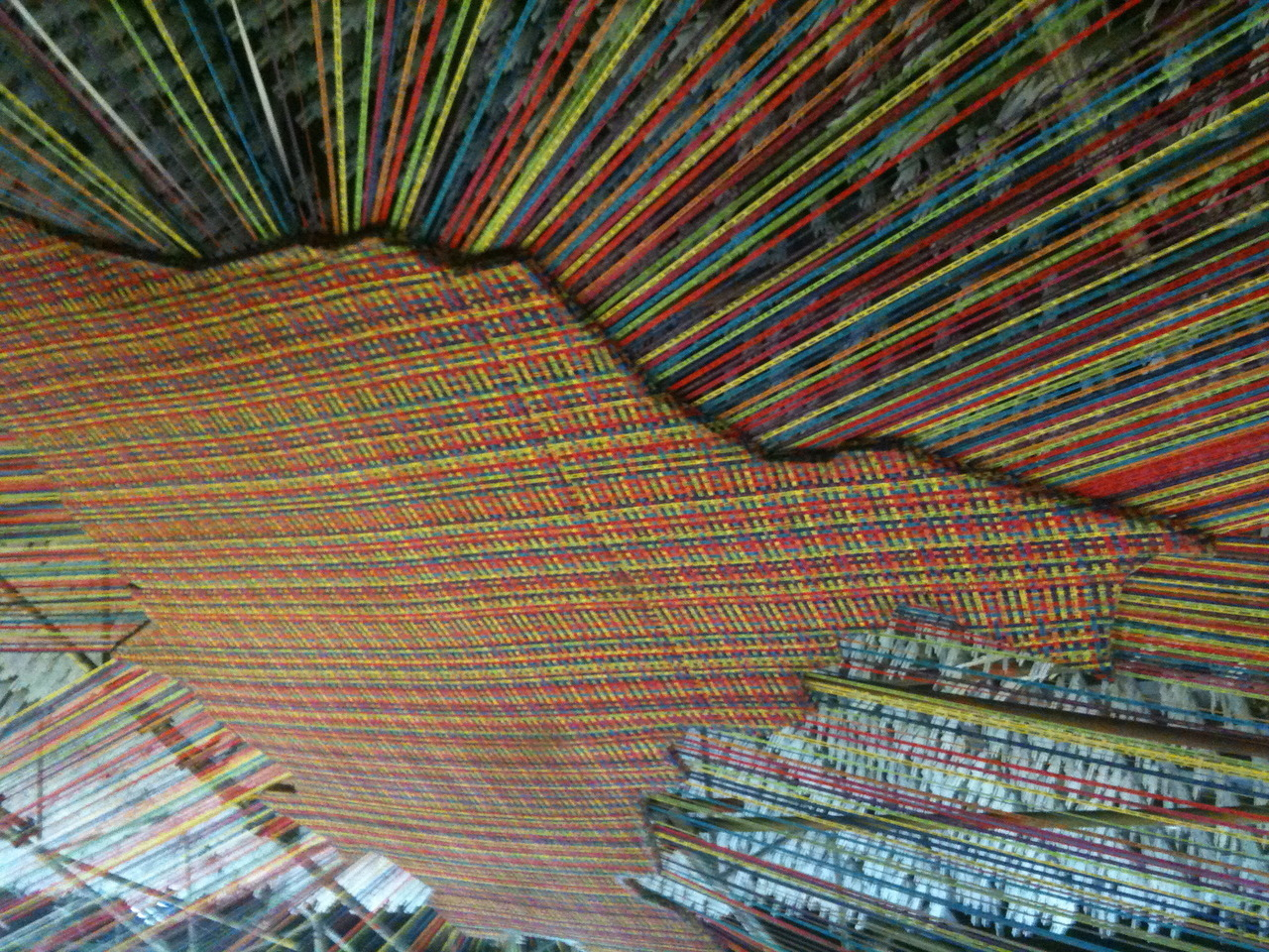 image of brazil made of woven fitinhas do senhor do bomfim (wish ribbons) from bahia. another impressive installation at the humanidade exhibit during the Rio+20 conference. (photo by J)