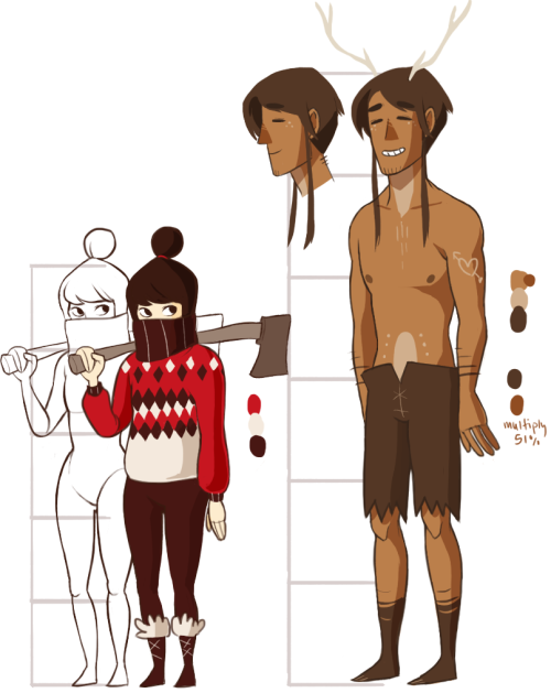 size comparison of deer dude and axe girl - if anyone has a list of good deer names that aren't just words that rhyme w/ deer now would be a great time 2 help me out