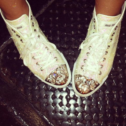 Twinkle-toed sneakers getting Teen Vogue's Mary Kate Steinmiller through NYFW eve pain free!