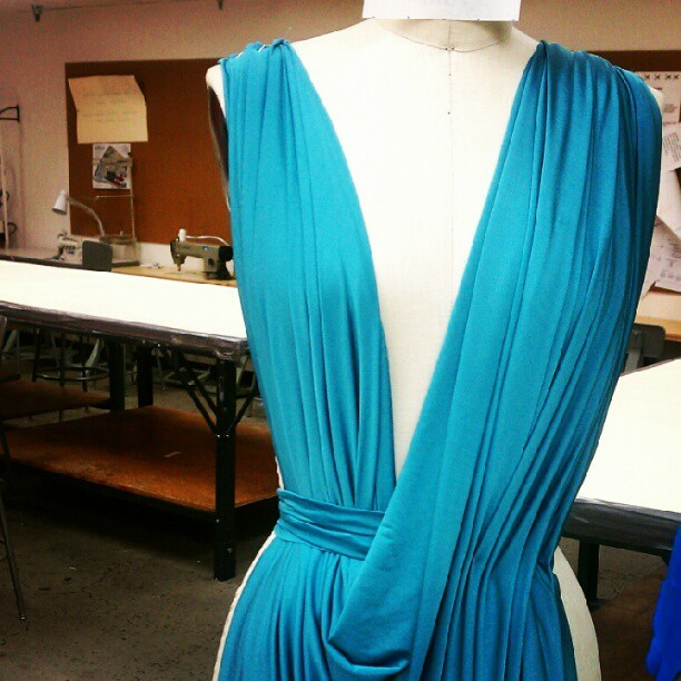 5 min quick drape. draping some concepts for jersey dresses using soft pleating  (Taken with Instagram)