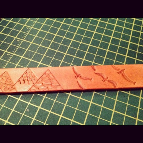 Work in progress - belt for uncle Sammy #HunterPassLeatherGoods (Taken with Instagram at Hunter Pass Headquarters)