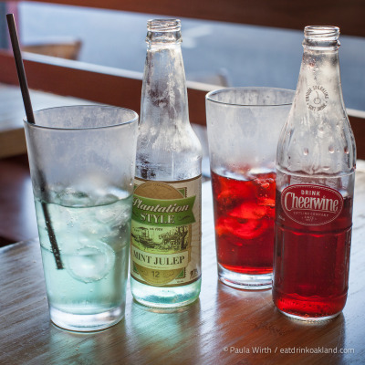 Plantation-style Mint Julep & Cheerwine old-school sodas at Noodle Theory, 6099 Claremont Avenue, Oakland, CA.