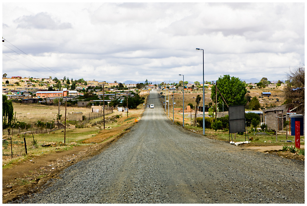 Dirt road through a small town - Lesotho, Southern Africa