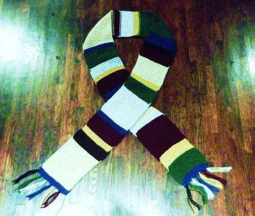 gingerwhovianrobotskeleton:  Tom Baker Scarf!!! Commission for my librarian. About 9ft. long not counting the tassels. I should really consider starting a knitting business.