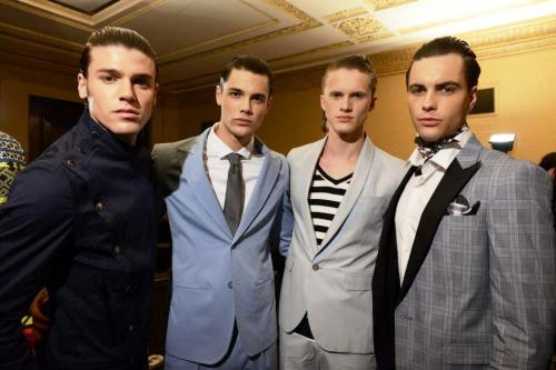 The men were looking sharp backstage at MSFW - Designer Series 2 in suits by Arthur Galan AG