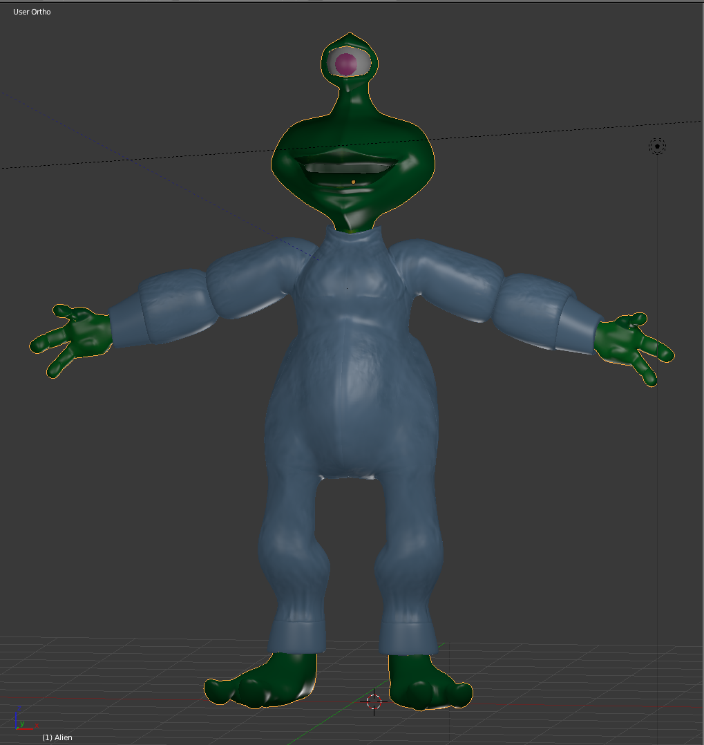 I was hoping I could get through the normal maps tutorial and get to rigging, but I did learn quite a bit today. I did a simple texture on the alien, created a suit from his body, added detail and then created a normal map to bake onto the low-res suit. It took way longer than it should have, but I've got a preliminary grasp on what buttons to push and knobs to twirl in order for blender to be happy and actually show normal maps properly. Tomorrow:Rigging. Finally.