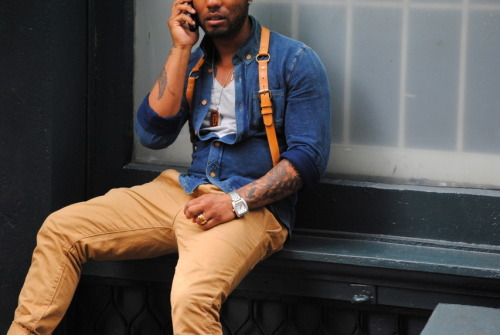 NYC Street Style by Four Pins Camel and dark denim, hard to beat…