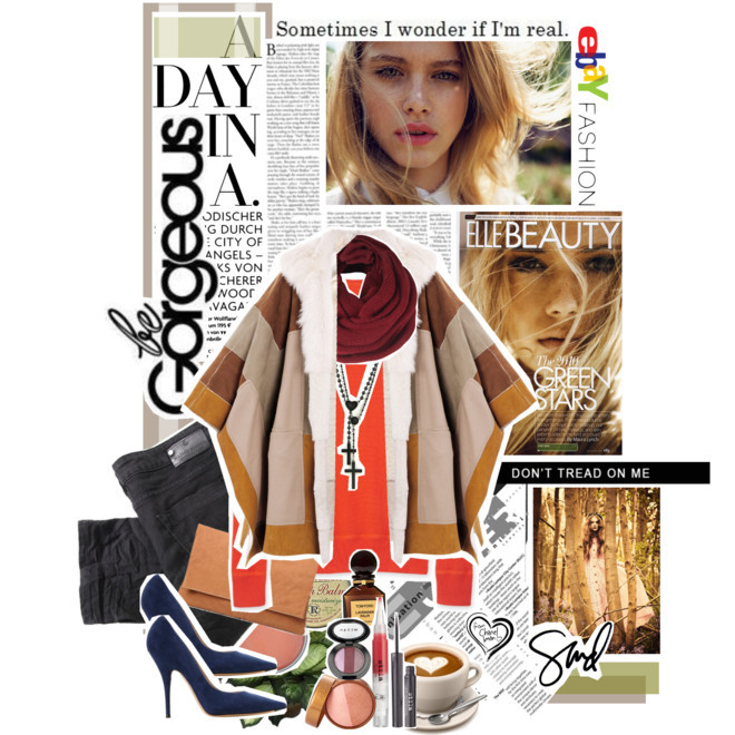 "Congratulations Fashion Flux, our Polyvore/eBay Contest Winner By Jauretsi  First off, I'd like to thank all the 3,000 entries which were so skillfully crafted with eBay goodies. It was truly difficult to select the top 3 candidates, and more painstaking to narrow it down to 1 winner — but alas, we have our top dog, FashionFlux. This is what we've learned about her on her Tumblr. ""I like sugar skulls, swings, Twilight Zone, Rod Serling, siracha sauce, boggle, art, and philosophical banter"" says our winner. Her real identity is Inbal (Jerusalem) from ""the Windy City of capricious temperatures and floozy politicians"" she writes on her site. Since she'll be diving into RISD studies soon, her Polyvore work will be more limited, so we're happy to have caught her eye before losing her to the books. You can also follow her like-minded crew called Simply Fashion on Polyvore.  Anyway, we'd like to congratulate Fashion Flux on her $500 certificate to go nuts on eBay. Thank you to all the creative spirits who submitted a collage. You can follow my own Polyvore creations at Jauretsi/Polyvore. Happy collaging!   (Photo: Fall's Finest with eBay//Rock The Casbah by fashionflux featuring stila cosmetics. Ralph Lauren  sweater / Chloé cape jacket / Maison Scotch mid rise jeans, $175 / Casadei suede pumps / Joie clutch purse / Wildfox Couture cross necklace / Loop scarve, $21 / Stila  cosmetic / Tom Ford  perfume / Rosebud Perfume Co. nivea lip care)"