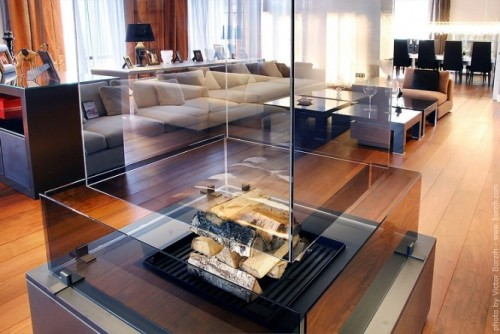 homedesigning:  Transparent Fireplace