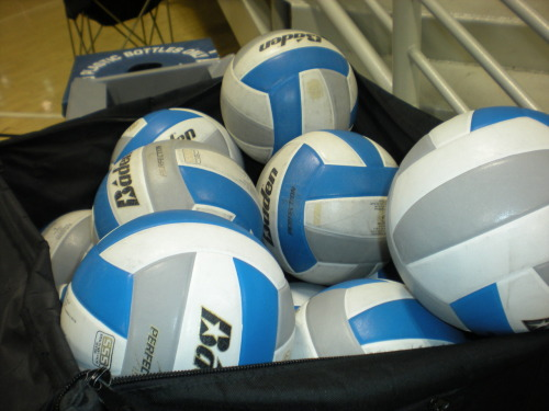 TT: i never get tired of taking  pictures volleyballs in a ball cart. Remember these balls are called  Jills. Whatever brand it may be and the colors are blue and grey they're called Jills. Why? I have no idea but that's what I read in vball  message boards and a comment to a similiar picture I posted last year  here in this e-bulletin board.