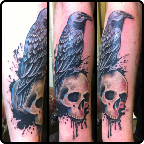 Raven and skull with some splatter background. Done by Steve at All Seeing Eye Tattoo Lounge in Bradford, West Yorkshire, UK. http://www.all-seeing-eye.co.uk Facebook page: http://www.facebook.com/AllSeeingEyeTattoo Follow on Instagram: @steve_wade_tattoo