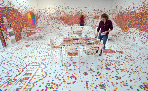 """From Pointillism to Pixel"". Installation by Japanese artist Yayoi Kusama"