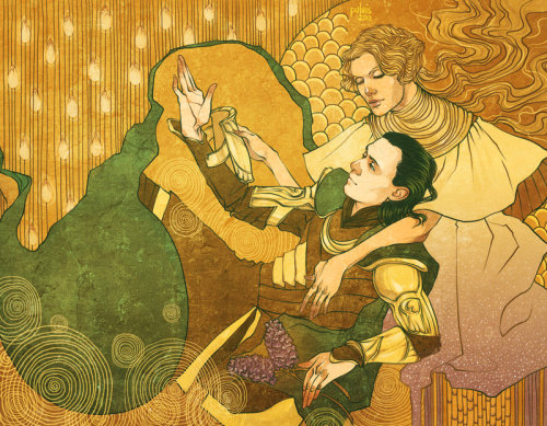 Loki and Frigga by *Pulvis For Loki's Redemption project =)prints: http://society6.com/Pulvis/Loki-and-Frigga_Print