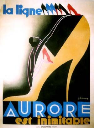 Vintage Poster: AuroreArtist: Chassaing, JeanCirca: 1930'sOrigin: FranceBuy It Here: http://www.la-belle-epoque.com/vintage-poster/Fashion/358/Aurore Here at La Belle Epoque we have always had a soft spot for all things Art Deco. It goes without saying that we really love today's poster. With it's vibrant colours and curvaceous shapes this poster is like a shrine to Art Deco art, with a figure praying at the alter of the high heel.