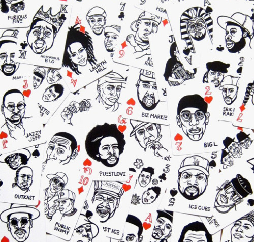 Hand Drawn Hip Hop Playing Cards by Mynority Classics |  This is an amazing set.