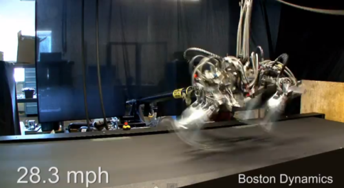 Cheetah robot sets 28.3 mph speed record, outrunning Usain Bolt Improvements to Boston Dynamics' Cheetah robot have allowed it to set a new speed record, running at 28.3 mph — faster than Usain Bolt's top speed of 27.78 mph. Engineers have optimized the algorithms controlling the robot's legs, which mimic those of its biological namesake, far outstripping the robot's previous record of 18 mph, though it still runs on a treadmill with a supporting arm.