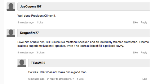 CNN commenter Godwins it in three. Way to go, CNN commenters.
